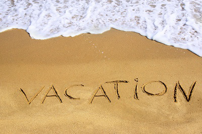 Handwritten Sign Vacation on Sea Beach. Background with space for text or image